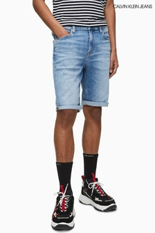 Calvin Klein Jeans Blue Bleached Slim Denim Shorts