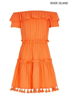 River Island Orange Textured Bardot Dress