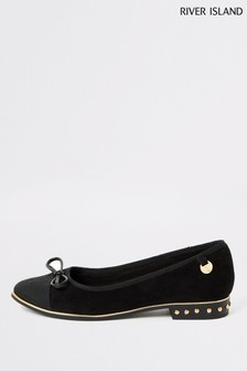 River Island Black Toe Cap Ballerinas