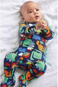 Пижама на молнии из органического хлопка GOTS с динозаврами  (0 мес. - 2 лет)