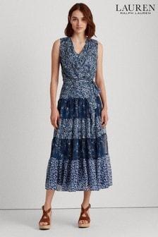 Lauren Ralph Lauren® Blue Paisley Pattern Tiered Adnan Dress