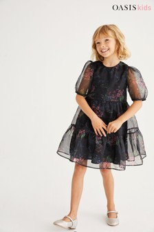 Oasis Black Floral Tiered Organza Dress