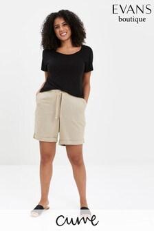 מכנסייםקצריםמתערובת פשתן בצבעטבעי של Evans למידותגדולות