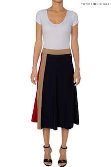 חצאית קפלים עם סמל האייקון בכחולשלTommy Hilfiger
