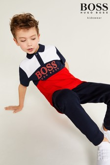 BOSS Navy And Red Colourblock Logo Poloshirt