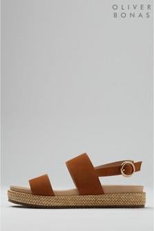 Oliver Bonas Sandalen mit doppeltem Riemchen aus Leder mit Plateausohle, braun