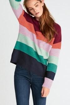סוודר בשילוב פסים צבעוניים