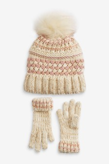 Metallic Stitch Beanie And Gloves Set (Older)