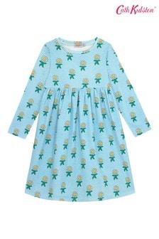Cath Kidston Everyday Langärmeliges Kleid mit Blütenmuster, Hellblau