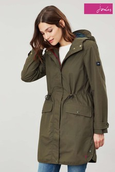 Joules Green Barrowden Longline Waterproof Coat
