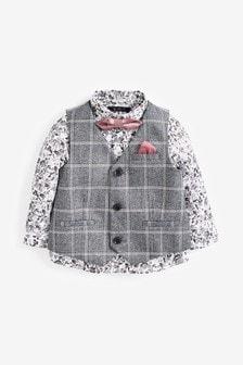 Жилет в клетку, рубашка с цветочным принтом и галстук-бабочка (комплект) (3 мес.-7 лет)