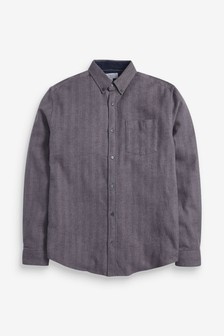 Overhemd met visgraatmotief en lange mouwen