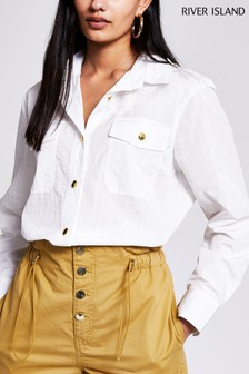 River Island White Nylon Oversized Shirt