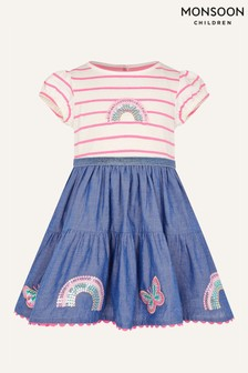 Monsoon粉色嬰兒裝彩虹亮片裝飾2合1連衣裙