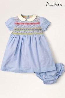 Mini Boden Blue Smocked Occasion Dress