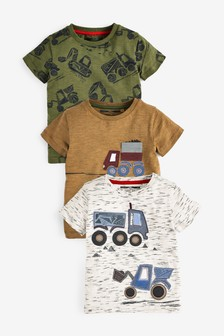 3 Pack Appliqué Truck T-Shirts (3mths-7yrs)