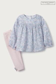 The White Company - Set van blauwe gebloemde blouse en legging