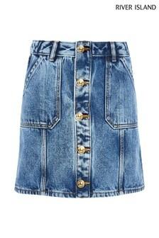 River Island Blue Medium Button Through Denim Skirt