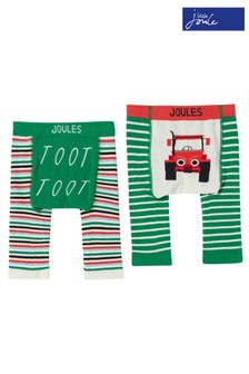 Joules Green Lively Tractor Knitted Leggings