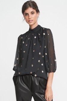 Блузка в горошек с рукавами «фонарик» и пайетками
