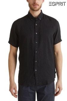 Esprit zwart linnen overhemd met korte mouwen