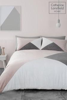 Catherine Lansfield Melina Set mit Bettbezug und Kissenbezug mit geometrischem Blockfarben-Design