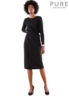 Pure Collection Black Heavy Jersey V Back Dress