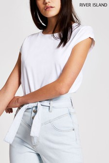 River Island White Turnback Sleeve T-Shirt