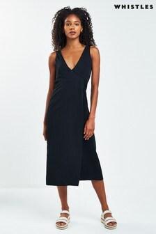 Whistles Black Clara Wrap Dress
