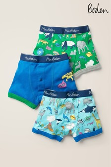 Mini Boden Blue Boxers Three Pack