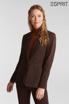 Esprit Brown Woven Jersey Blazer