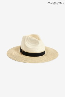 Accessorize Natural Mono Chic Braid Fedora Hat