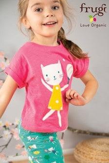 Frugi® Pink GOTS Organic Pink T-Shirt With A Sporty Cat Appliqué