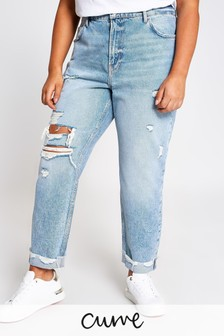 River Island Denim Medium Mom Ripped Pop Jeans