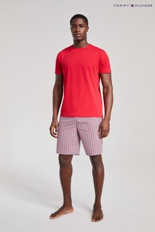 Tommy Hilfiger紅色Original編織T恤和短褲睡衣套裝