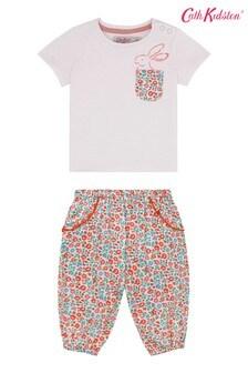 Cath Kidston® Baby-Set mit T-Shirt und Hose mit hüpfenden Häschen, Pink