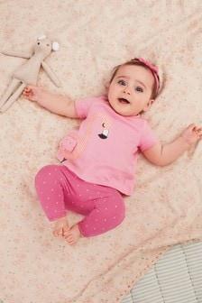 Set tricou, colanți și bentiță de păr cu flamingo (0 luni - 2 ani)