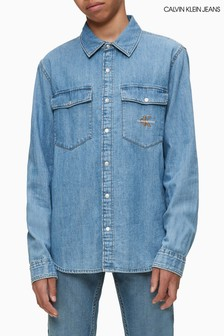 Calvin Klein Jeans Blue Monogram Denim Shirt