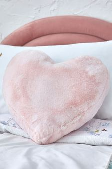 Pink Super Soft Heart Faux Fur Cushion