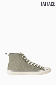 FatFace Khaki Organic High Top Lace-Up Trainers