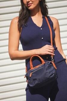 Nylon PU Handle Cross-Body Bag