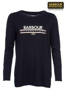 חולצת טי ארוכה שלBarbour® International דגם Spadaבצבע שחור עם לוגומטאלי
