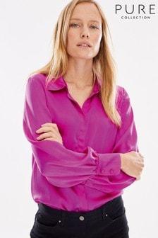 חולצת טי מסאטן-משי של Pure Collection, בצבע ורוד