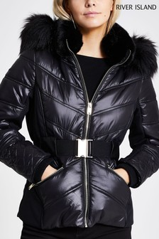 River Island Black Flavia Fitted Padded Coat
