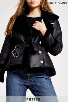 River Island Black Faux Fur Collar Shearling Jacket
