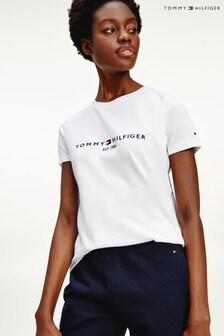 Tommy Hilfiger Essentials T-Shirt mit Logo, Weiß