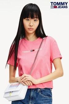 Tommy Jeans Pink Modern Linear Logo T-Shirt