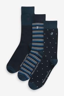 Lot de trois paires de chaussettes French Connection Waterfall bleues