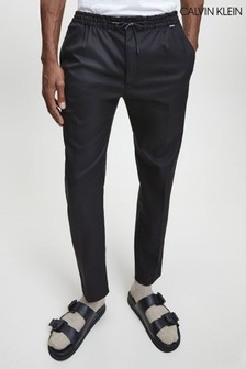 Calvin Klein Black Tapered Drawstring Trousers