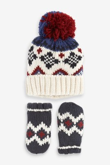 2 Piece Fairisle Pattern Hat And Gloves Set (Younger)